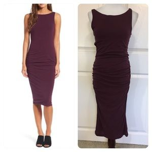 JAMES PERSE High Neck Shirred Dress in Pure Raisin